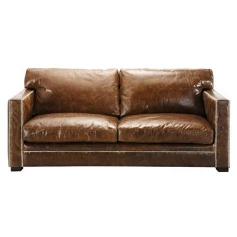 maison du monde canapé cuir canap 233 3 4 places en cuir marron dandy maisons du monde