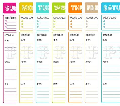 printable weekly planner notepad printable hourly planner printable daily planner to do
