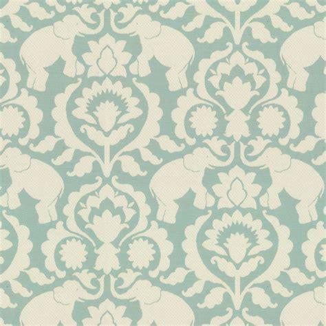 Elephant Upholstery Fabric by Damask Aqua Blue Elephant Fabric Cirque Du Scroll Aqua