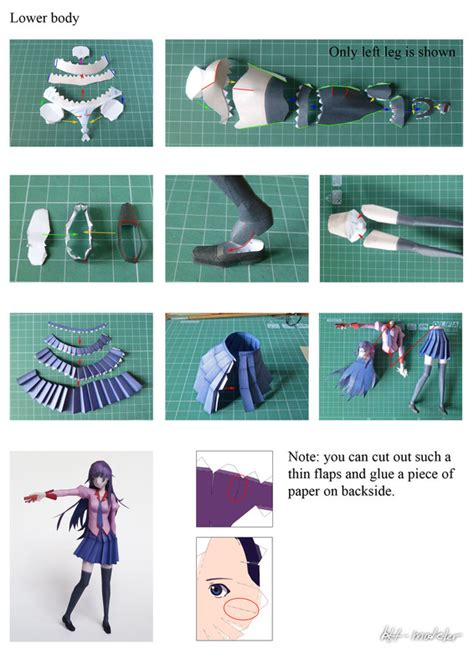 paper craft steps hitagi papercraft 183 how to make a paper model 183 papercraft