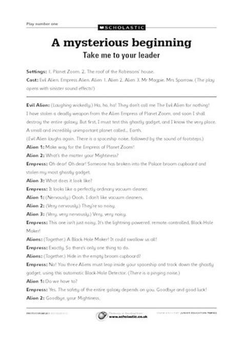 take me to your leader playscript primary ks2 teaching