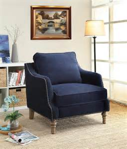 Agreeable cheap living room furniture with navy blue accent chair