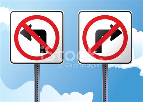 st on left or right no left or right turn street signs stock vector