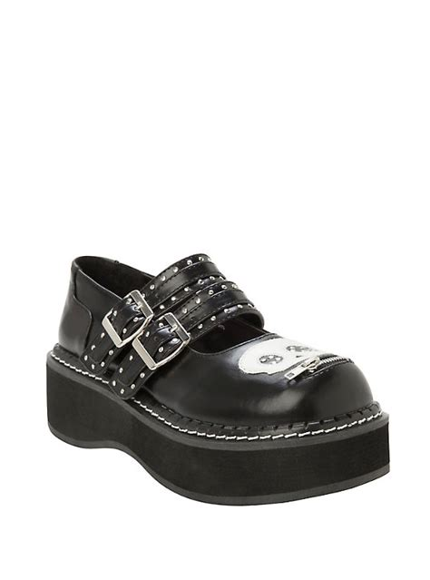 topic shoes demonia by pleaser emily pu skull buckle platform shoes