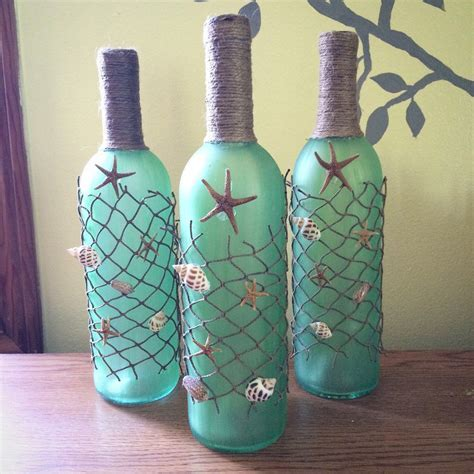 Beach themed Wine Bottles with Starfish, Seashells, and