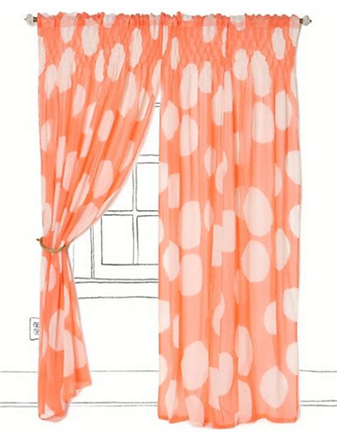 coral curtain sheers colossal dots curtain coral contemporary curtains