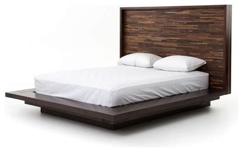 Devon Reclaimed Wood Queen Platform Bed Frame Rustic Wood Panel Bed Frame
