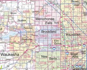 southeast zip code map themapstore southeastern wisconsin sectional 5 digit zip