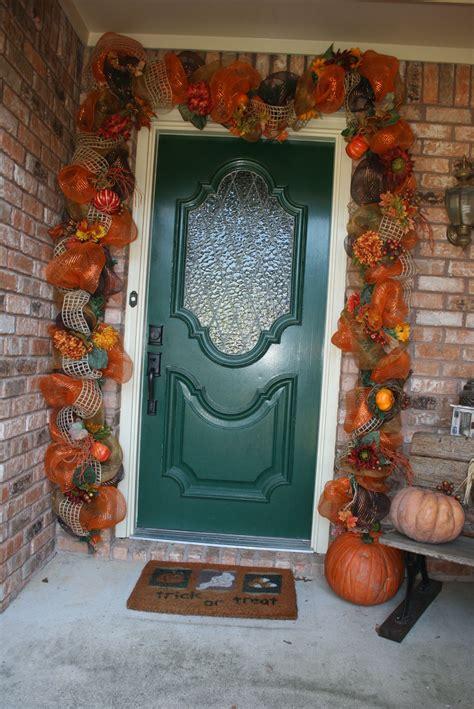 fall deco mesh door garland wreaths pinterest