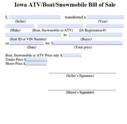 does a boat bill of sale need to be notarized free iowa bill of sale for atv boat snowmobile form