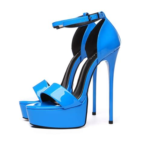 High Heel Platform Sandals giaro galana blue shiny high heel platform sandals