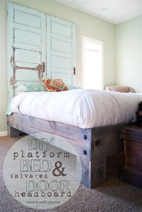 diy bed platform diy platform bed salvaged door headboard part one