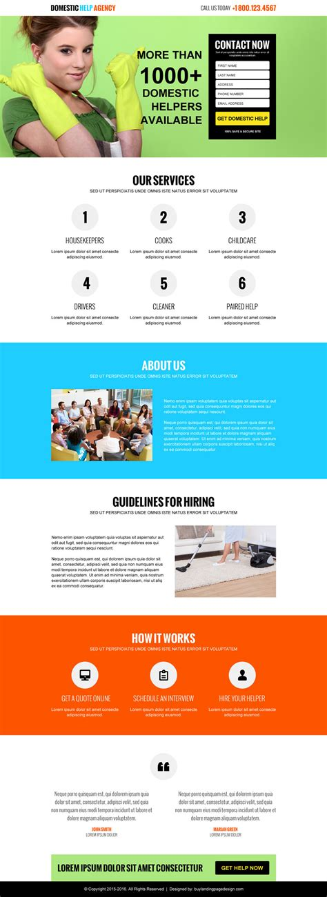 Domestic Help Agency Lead Capture Lp 001 Domestic Help Landing Page Design Preview Landing Page Sle Templates