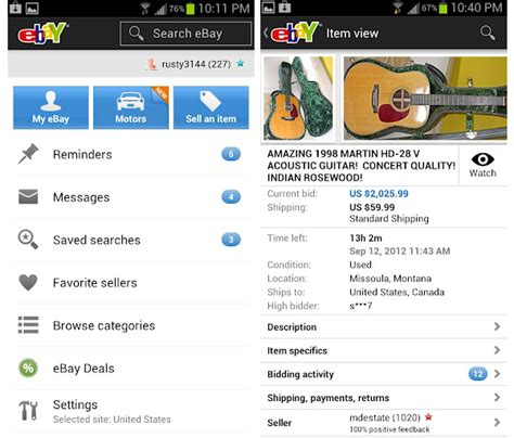 bay app for android ebay 2 0 app for android offers improved user interface