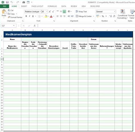 Kostenlose Vorlage Medikamentenplan Excel Medikamentenplan Kostenlose Excel Vorlage F 252 R Die Regelm 228 223 Ige Einnahme Medikamenten