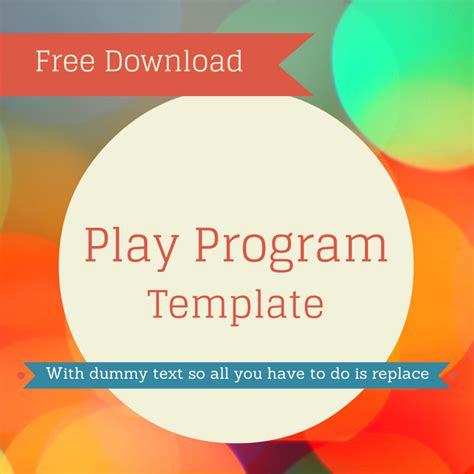 Free Play Program Template Theaterish Theatre Program Template