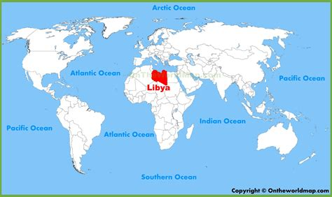 libya map in world libya location on the world map