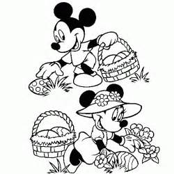 Have an easter colouring page that shows mickey mouse and minnie mouse