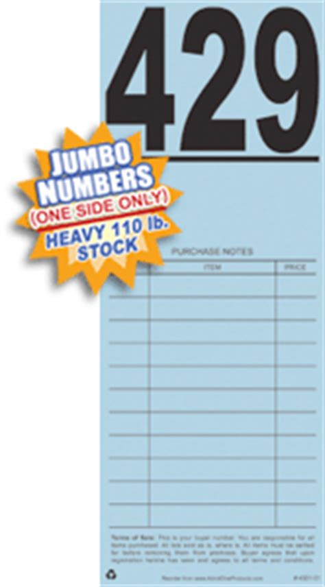 auction number cards template large auction bid cards with purchase notes from admit one