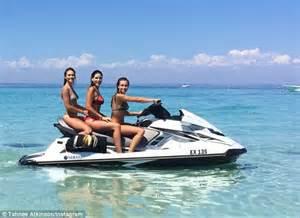 jet ski hitting boat image tahnee atkinson puckers up with female friend in perth