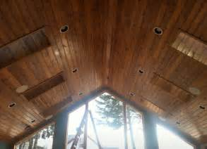 Knotty Pine Ceiling Boards by Tongue Groove Knotty Pine Ceiling We Finished