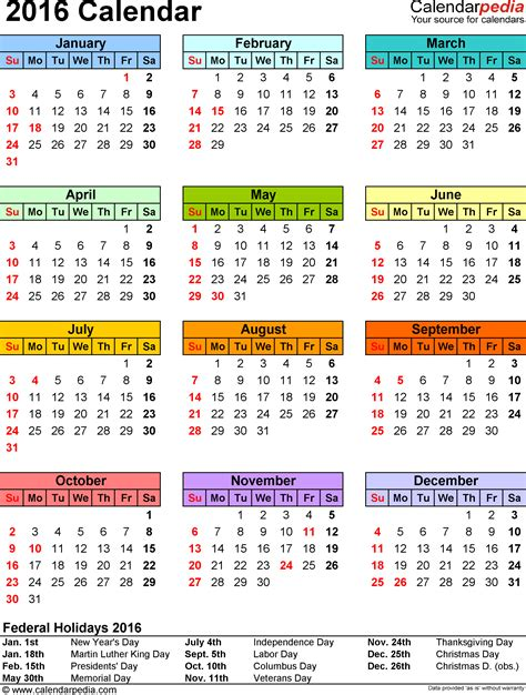 2016 calendar with holidays usa 2016 calendar with federal holidays excel pdf word templates