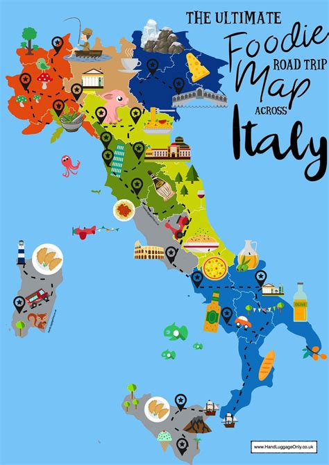 map uk to italy the ultimate map of what to eat in italy and where