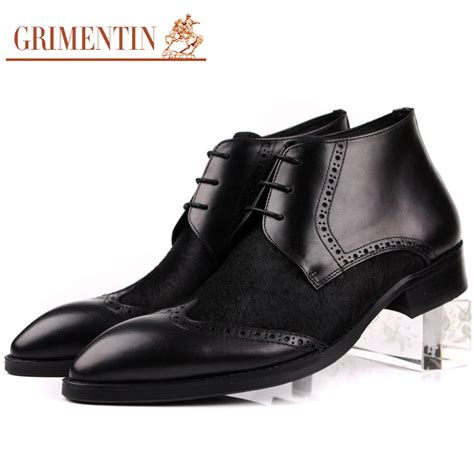 comfortable office shoes for men grimentin brand fashion horsehair mens ankle boots genuine