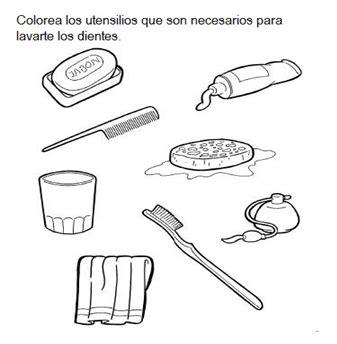 imagenes para colorear utiles de aseo personal dibujos de instrumentos de aseo personal para colorear