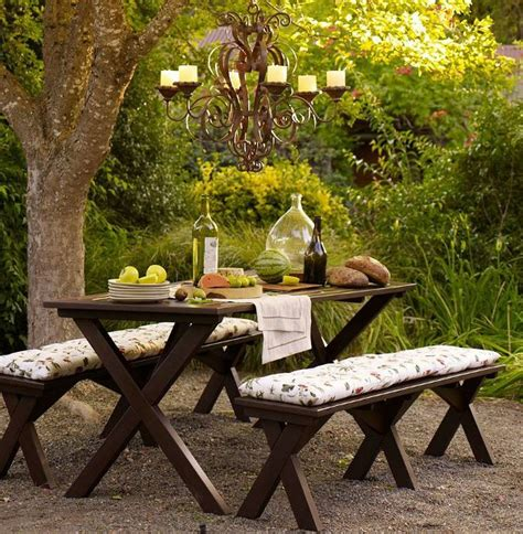 backyard picnic table a well furnished garden benches to enjoy the beautiful