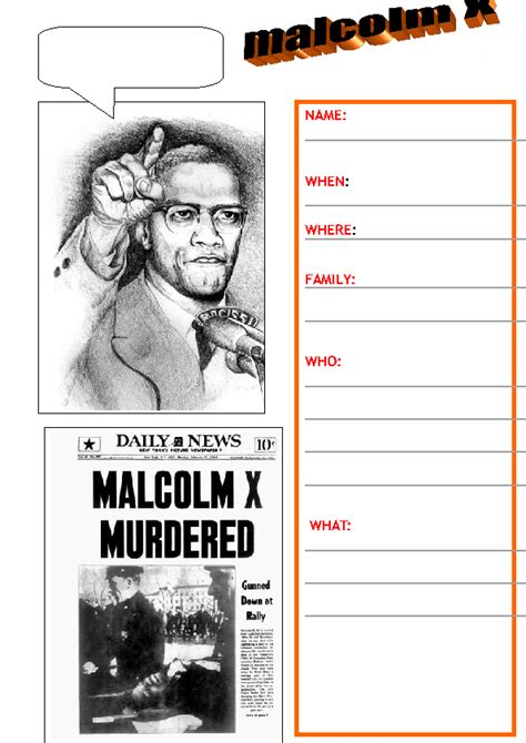 malcolm x biography in english 257 free celebrities biographies worksheets