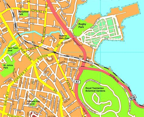 map of hobart city hobart vector maps as digital file purchase
