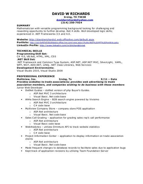 Sample Software Engineer Resume by David W Richards Net Resume