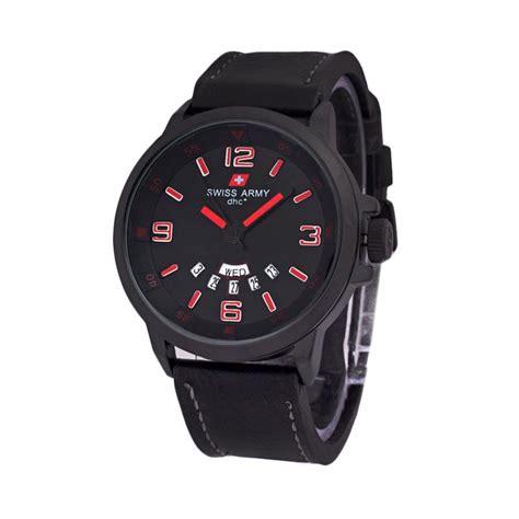 Swiss Army 1128 Hitam Merah jual swiss army 1128 leather jam tangan pria hitam