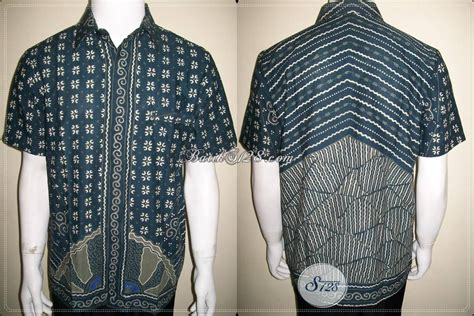 Kemeja Batik Pria Batik Tulis Lengan Pendek Warna Soft Baru Code B L baju batik keren warna biru salem kemeja pria lengan pendek ld616t m toko batik 2018