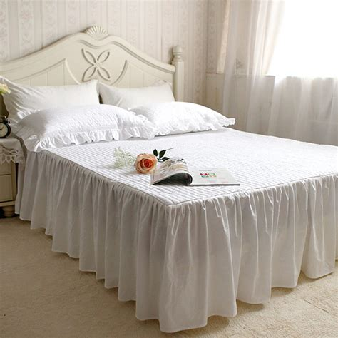 Handmade Bedspreads - white quilted rufflled bedspread 100 cotton bed skirt bed