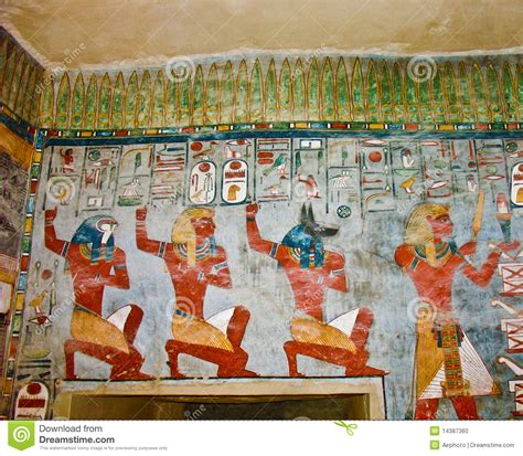 Ancient Egyptian Wall Murals ancient egyptian wall painting stock photo image 14387360