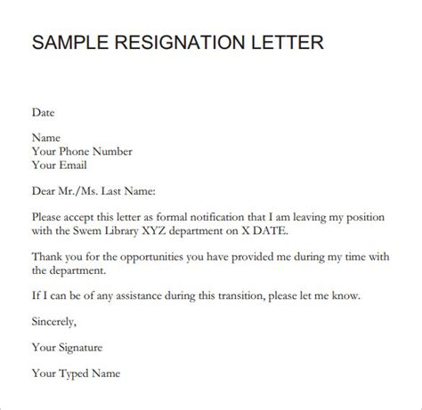 sample resignation letter short notice   documents