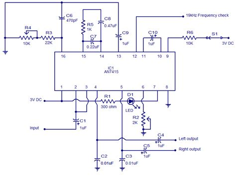 what is a radio integrated circuit an7415 fm stereo demodulator audio lifier schematic circuits picture