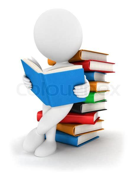 libro studying for a degree 3d wei 223 e leute liest ein buch gelehnt ein haufen b 252 cher wei 223 en hintergrund 3d bild isoliert