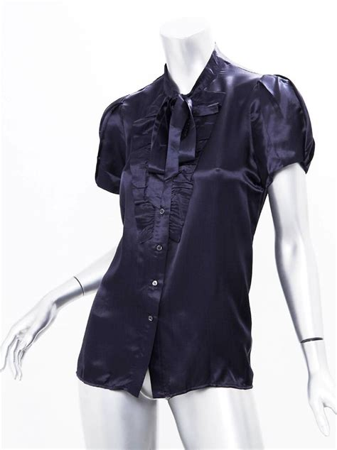 Navy Blue Silk Blouse by Prada Womens Navy Blue Sleeve Ruffled Button