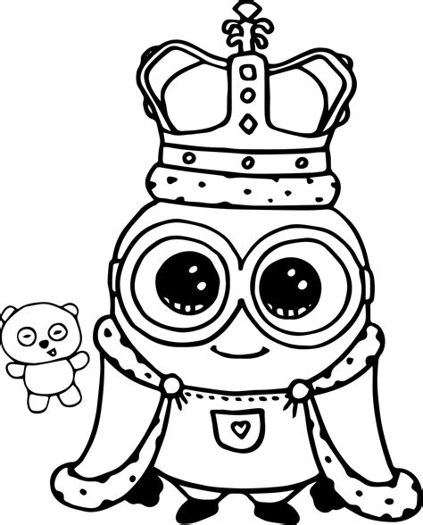 minions coloring pages king bob minion king bob cute coloring page wecoloringpage