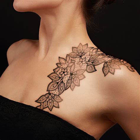 lace shoulder tattoo 30 feminine lace tattoos for