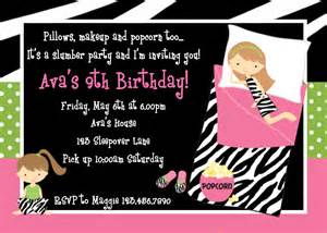 printable birthday invitations sleepover