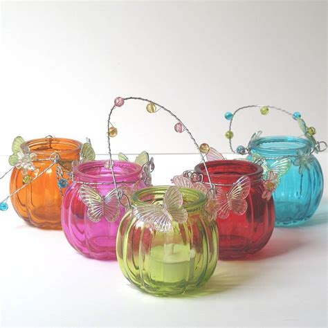 decorated glass tea light lanterns by lovely soap company