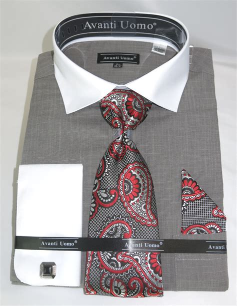pattern shirt and tie combo avanti dn73m grey men s french cuff dress shirt linen look