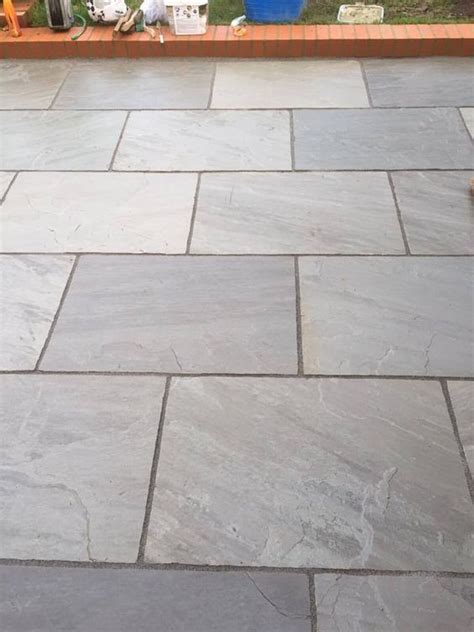 Indian Sandstone Patio Slabs by Silver Grey Indian Sandstone Paving Slabs 900x600 Large