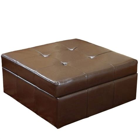 brown leather ottoman with storage trent home redondo leather storage ottoman in brown 410632cy