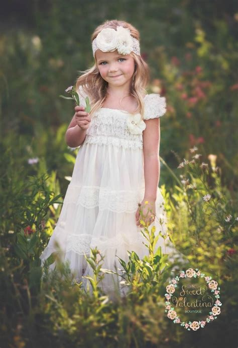 ivory lace flower girl dress vintage flower girl dress shabby chic flower girl dress rustic