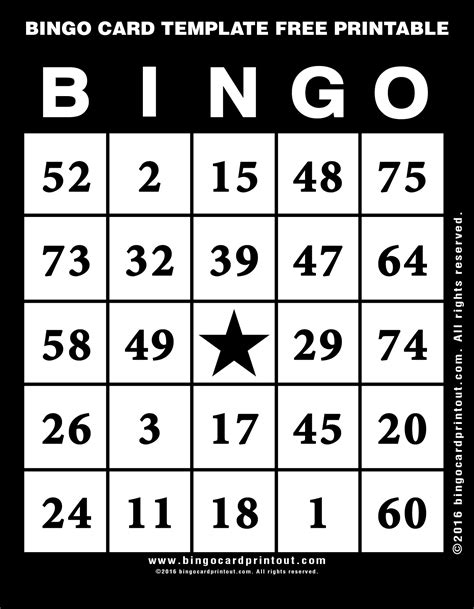 bingo card template printable bingo card template free printable bingocardprintout
